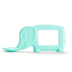 The Baby Toon™ Silicone Teething Spoon, Mint Elephant