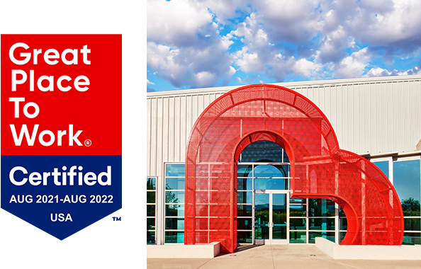 Great Place to Work Certified: Aug 2021-Aug 2022 USA with office facade